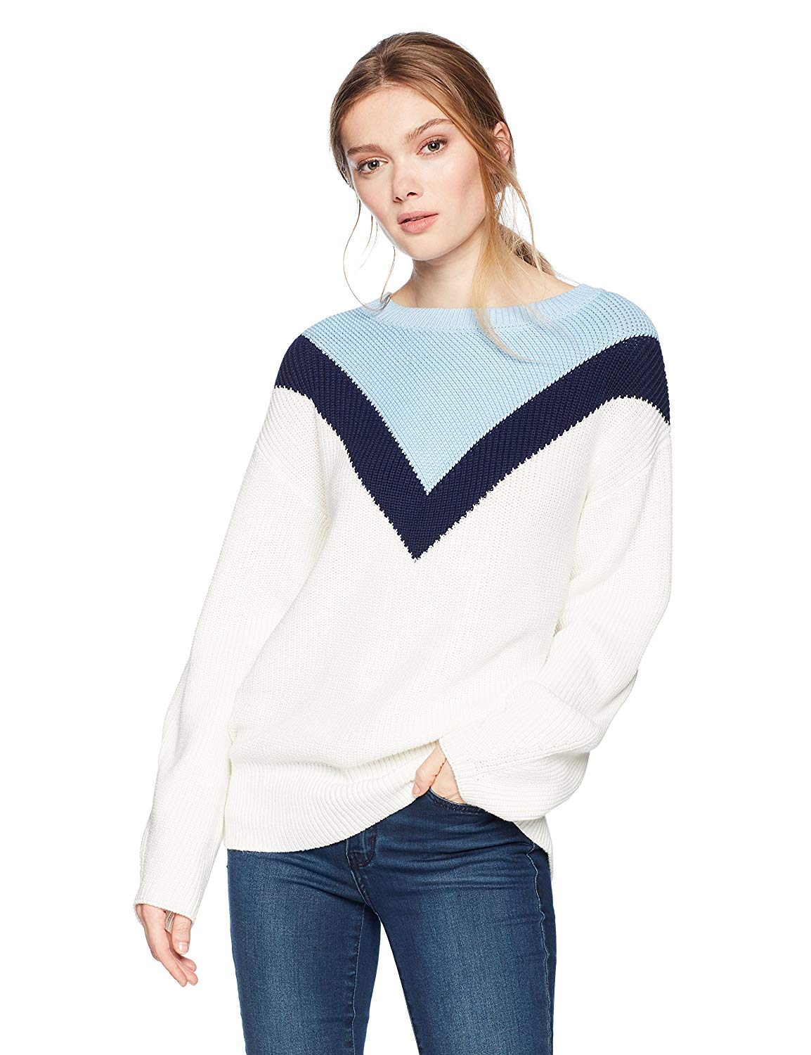 Cable Stitch Women's Geometric Colorblock Sweater