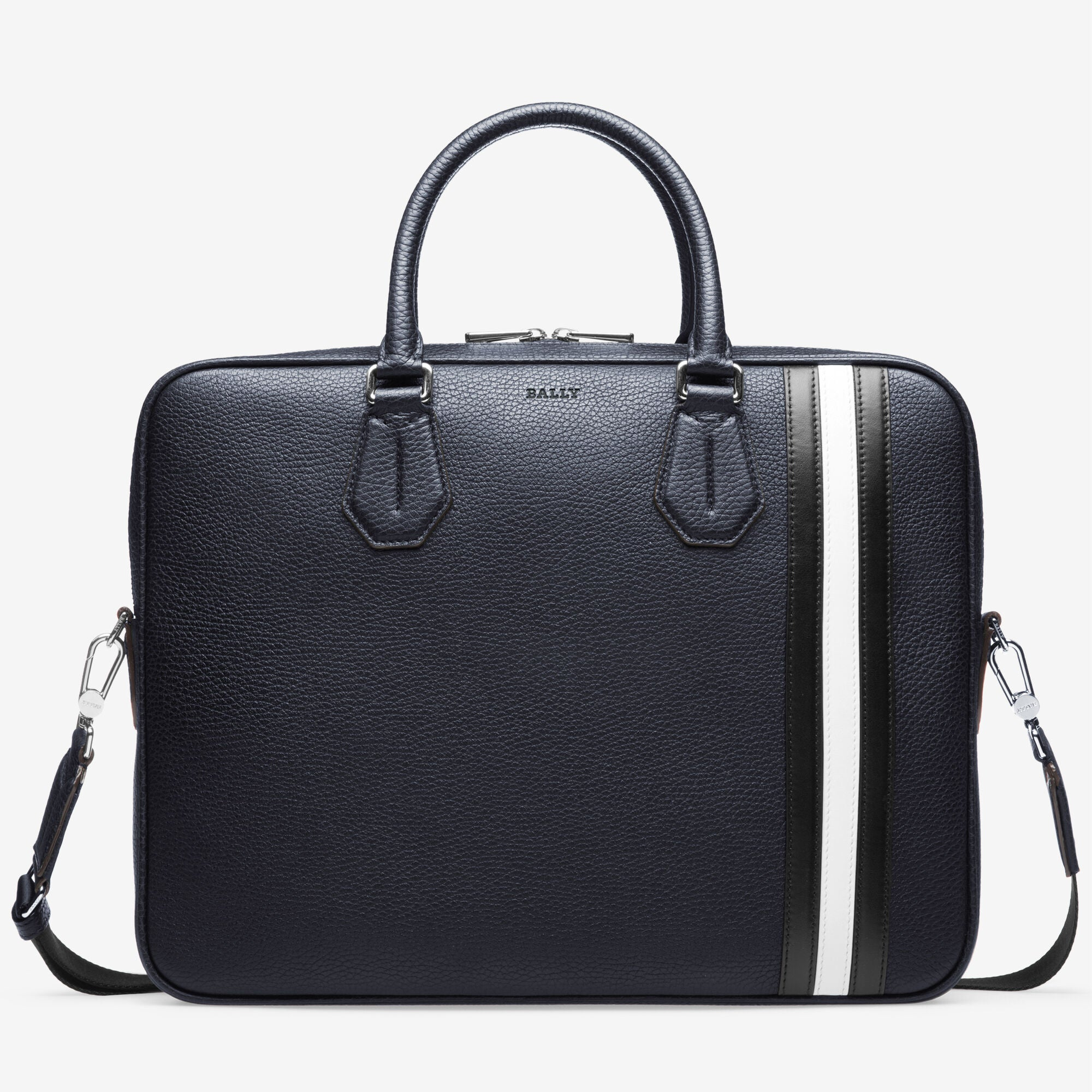Bally STAZ Men's Grained Leather Business Bag in Ink