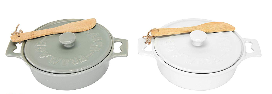 Celebrity Beauty: Creative Co-Op Stoneware Brie Bakers with Lids & Wood Spreaders, 7