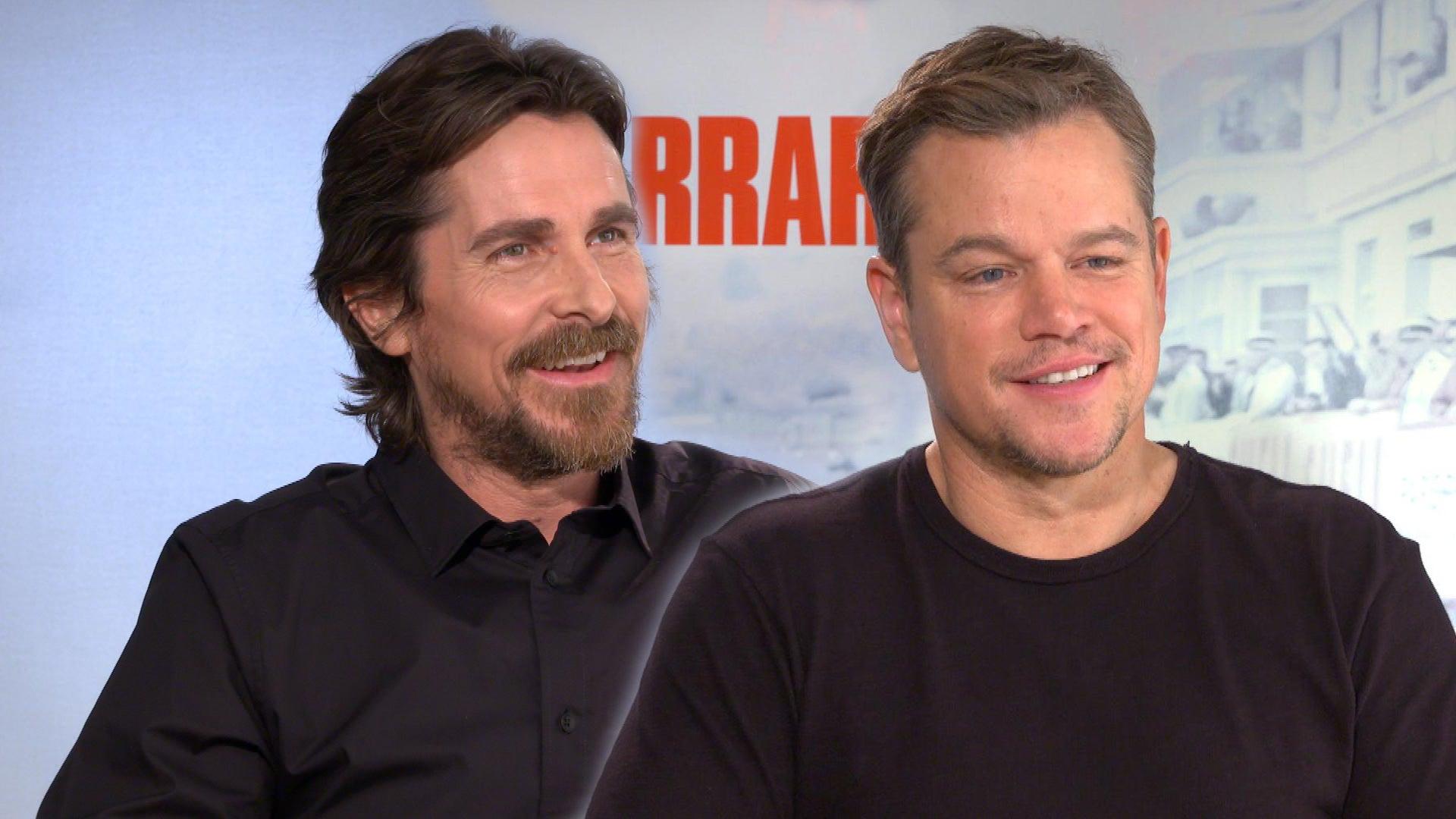 Matt Damon And Christian Bale Joke About Filming Silliest Fight Scene In Ford V Ferrari Entertainment Tonight