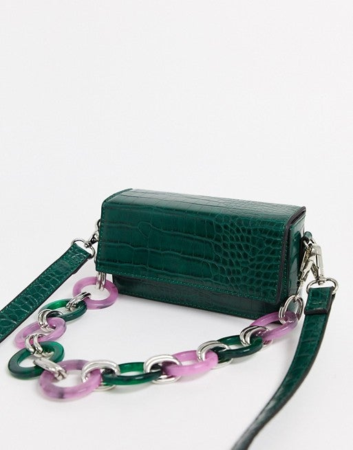 ASOS Design Boxy Bag in Croc with Statement Resin Chain