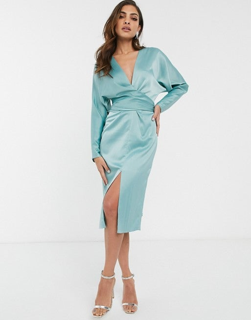 ASOS Midi Dress with Batwing Sleeve and Wrap Waist in Satin