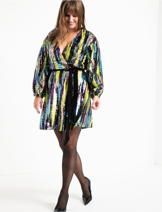 Eloquii Sequin Wrap Dress