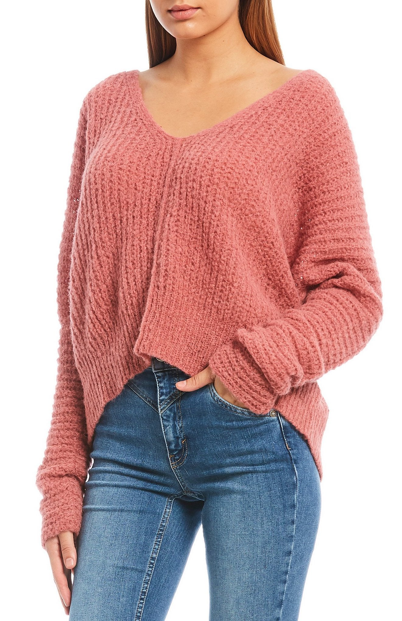 Free People Moonbeam Alpaca V-Neck Crop Sweater