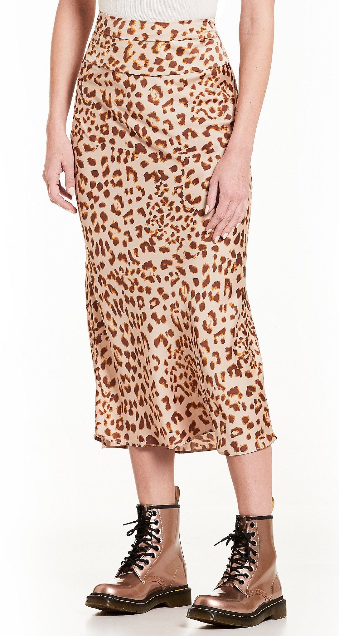 Free People Normani Bias High Waist Cheetah Print Midi Skirt