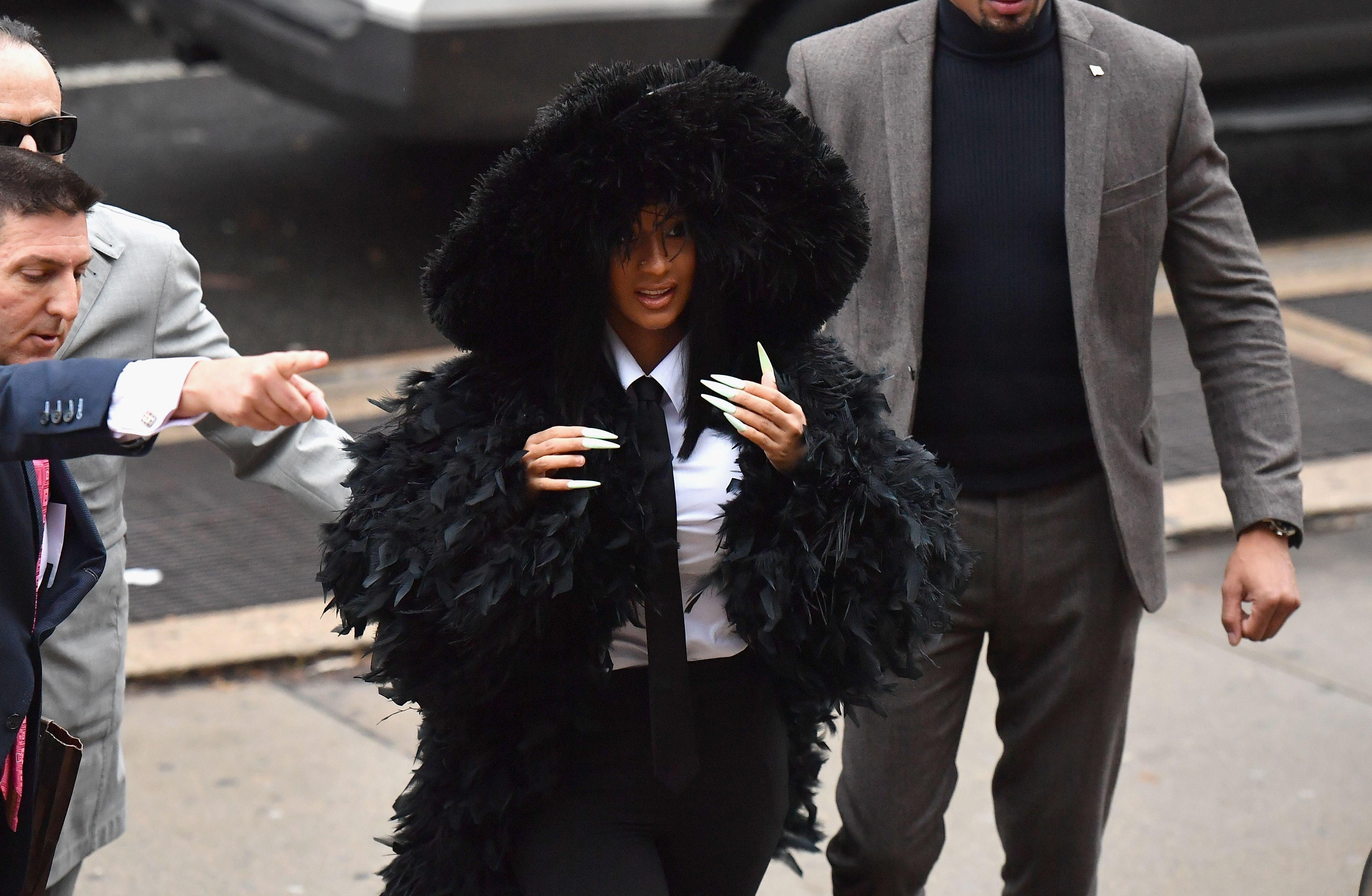 Cardi B Makes Glamorous Court Appearance in Long Train Coat