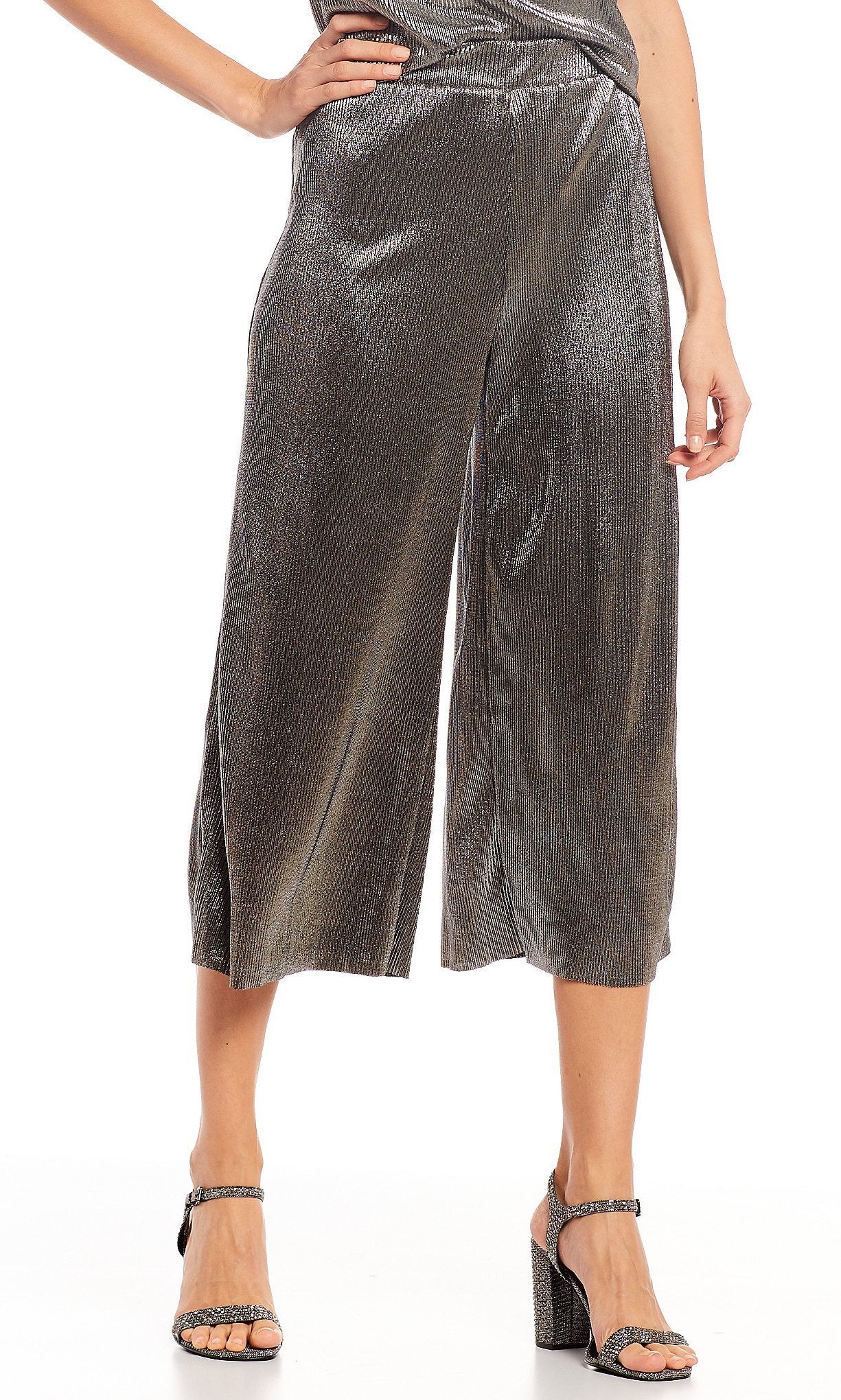 MICHAEL Michael Kors Foil Tricot Knit Cropped Wide-Leg Mini-Pleat Pants