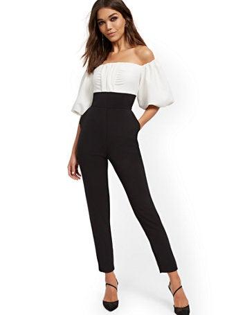 New York & Company Tuxedo Jumpsuit