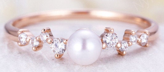 NyFineJewelry Akoya Pearl Engagement Ring in Rose Gold