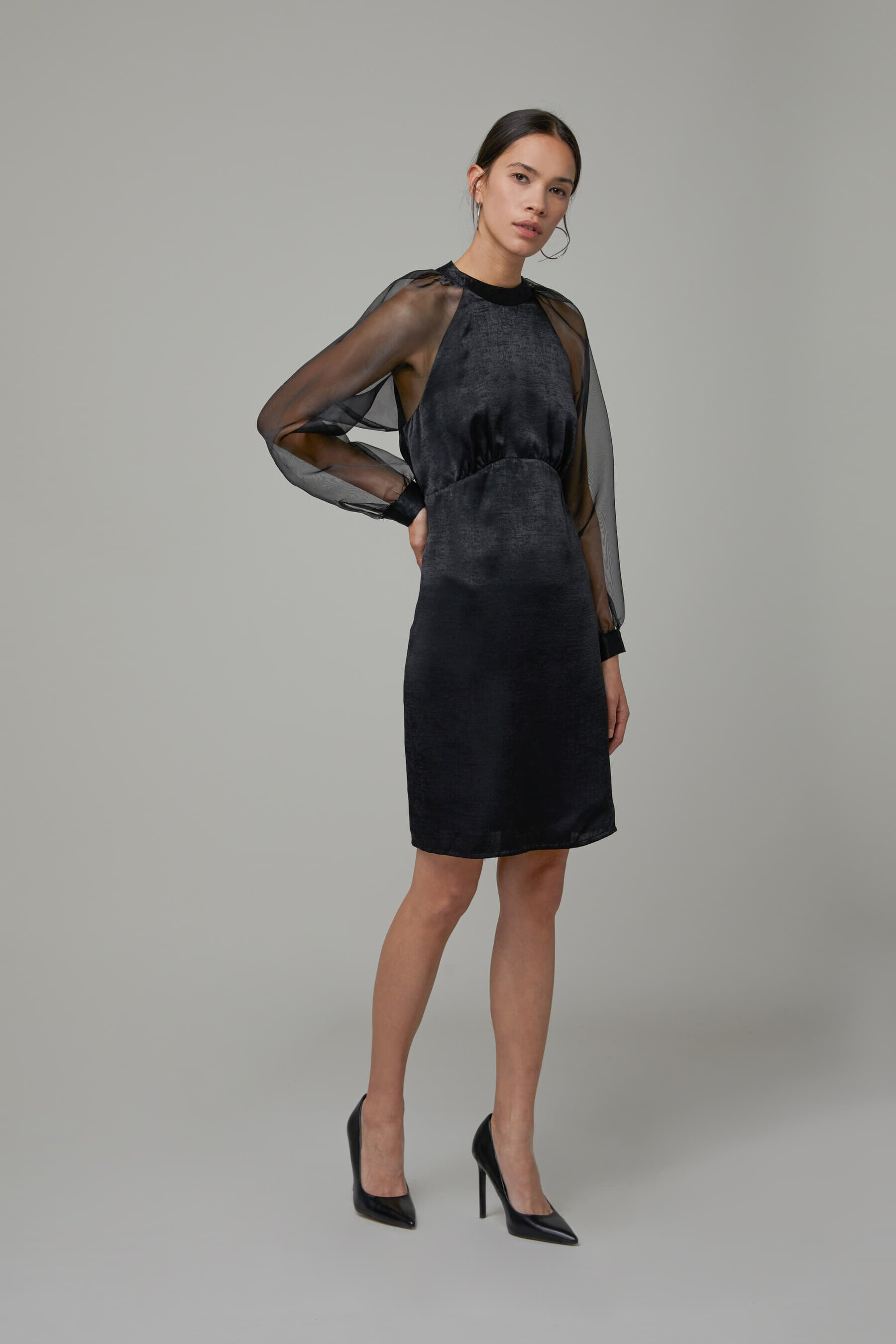 Oak + Fort Sheer Sleeve Dress 3921