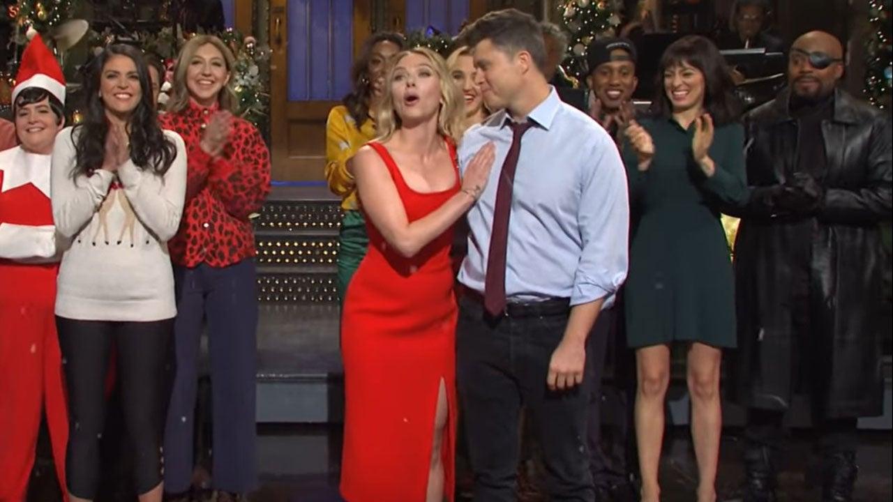 Scarlett Johansson Jokes About Engagement To Colin Jost In Marvel Themed Snl Monologue Entertainment Tonight