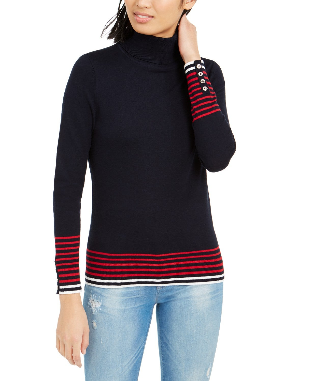 Tommy Hilfiger Striped-Hem Button-Sleeve Turtleneck Sweater