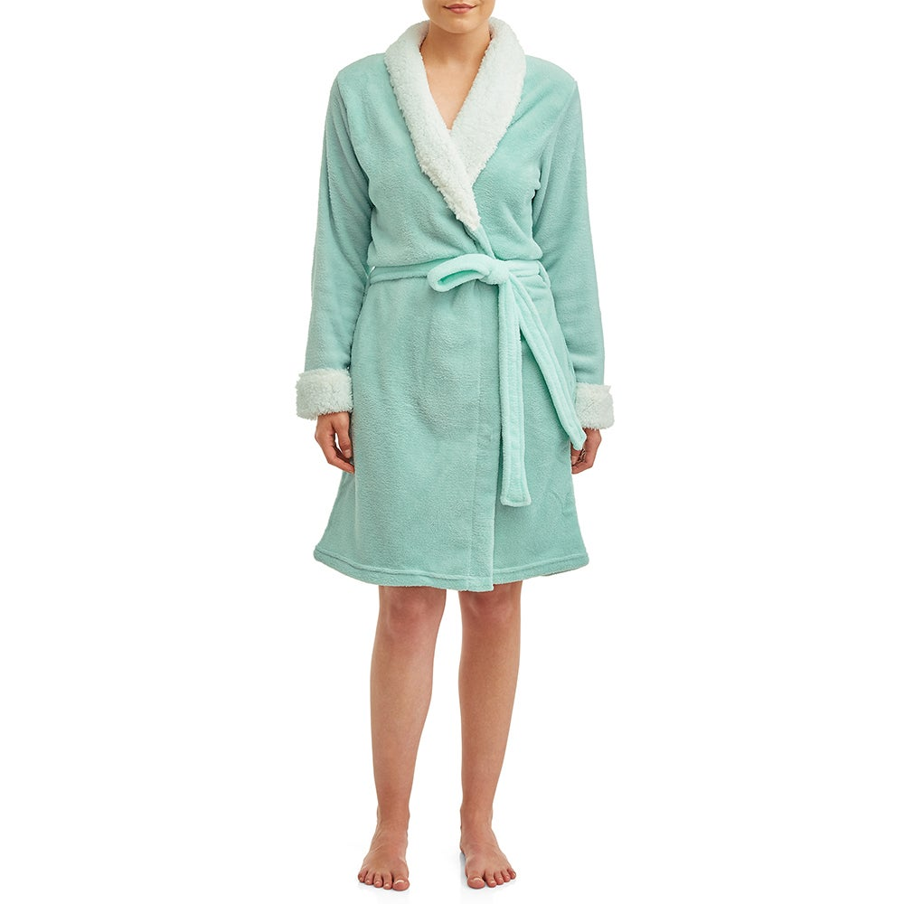 Blue Star Clothing Plush Body Robe with Sherpa Trim Collar