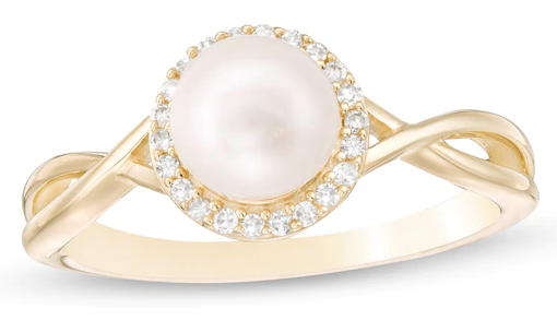 Zales Cultured Freshwater Pearl and Diamond Frame Twist Shank Ring