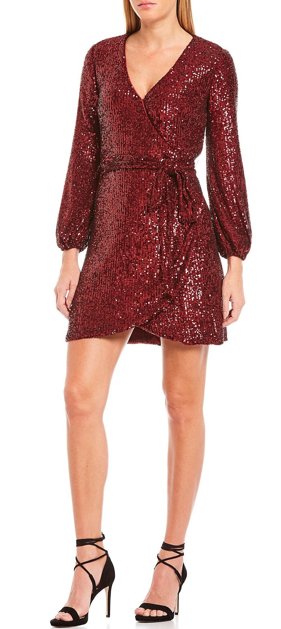 Gianni Bini Moor Allover Sequin Long Sleeve Wrap Dress