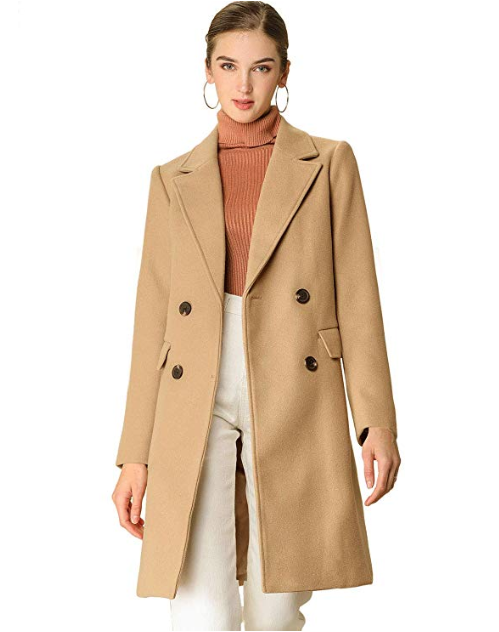 Allegra K Double-Breasted Belted Mid Long Winter Coat