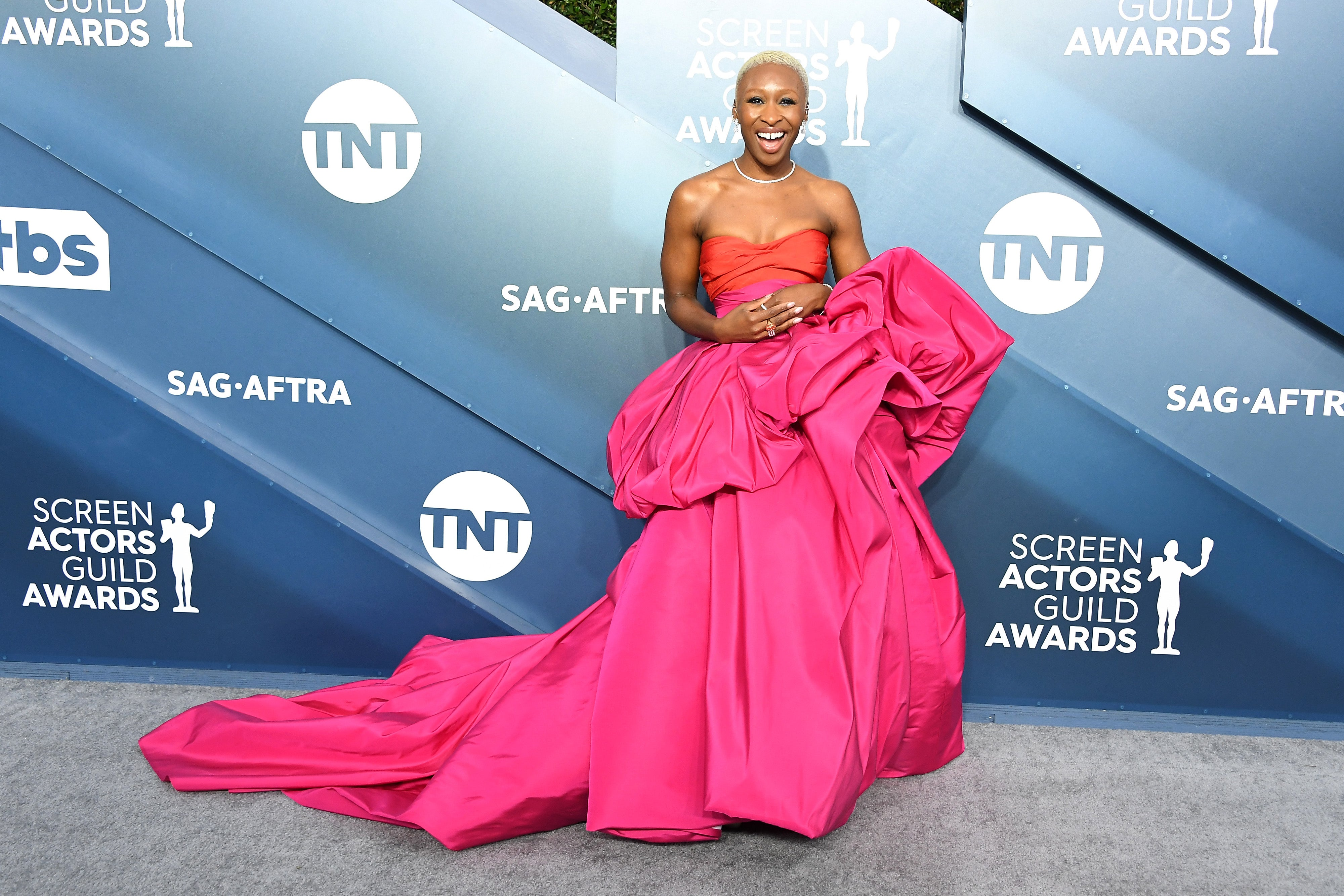 Cynthia Erivo Stuns in Hot Pink Gown With Show-Stopping Train at 2020 SAG Awards