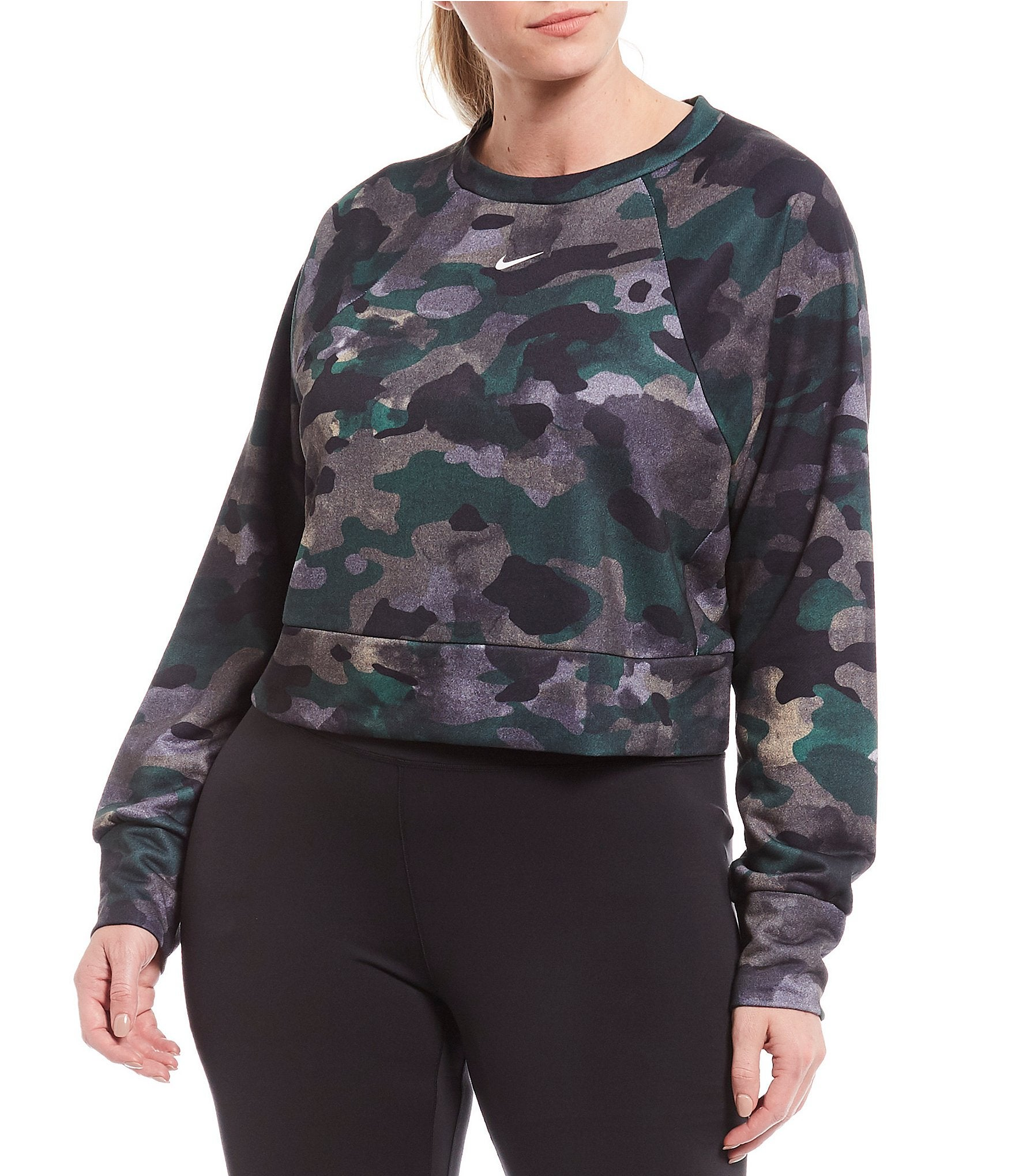Nike Plus Dri-Fit Fleece Camo Print Training Crop Pullover