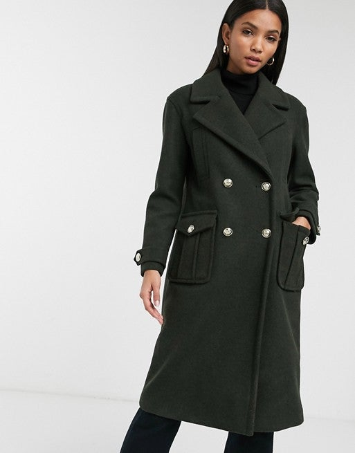 River Island Double-Breasted Military Style Coat in Khaki