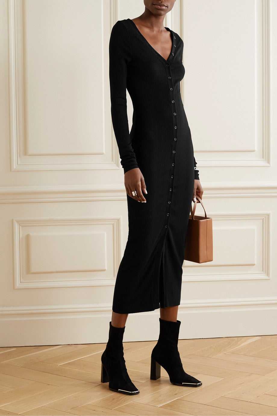 The Range Division Ribbed-Knit Midi Dress