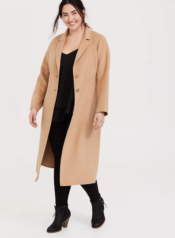 Torrid Taupe Woolen Button Front Duster Coat