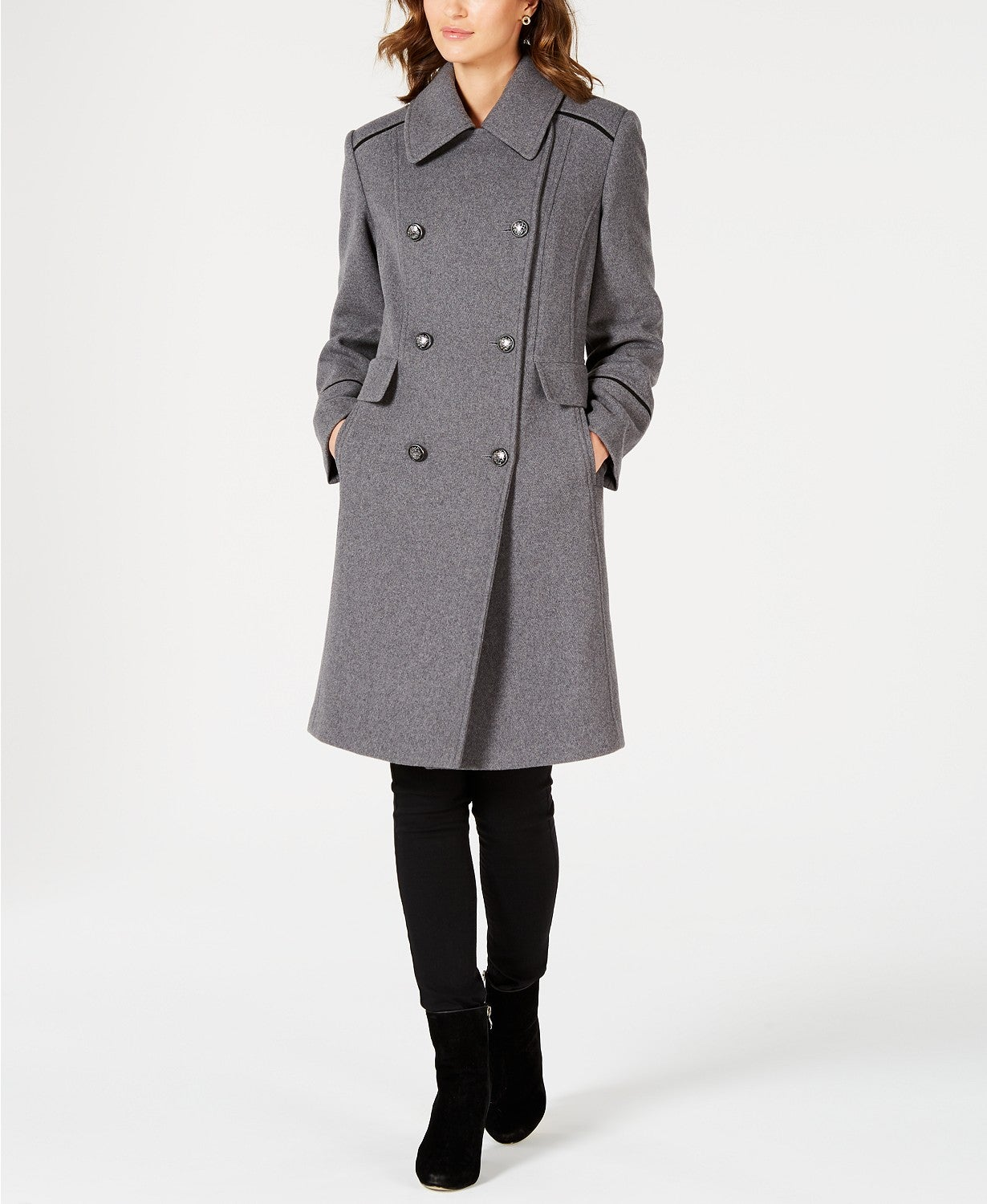 Vince Camuto Wing-Collar Double-Breasted Coat