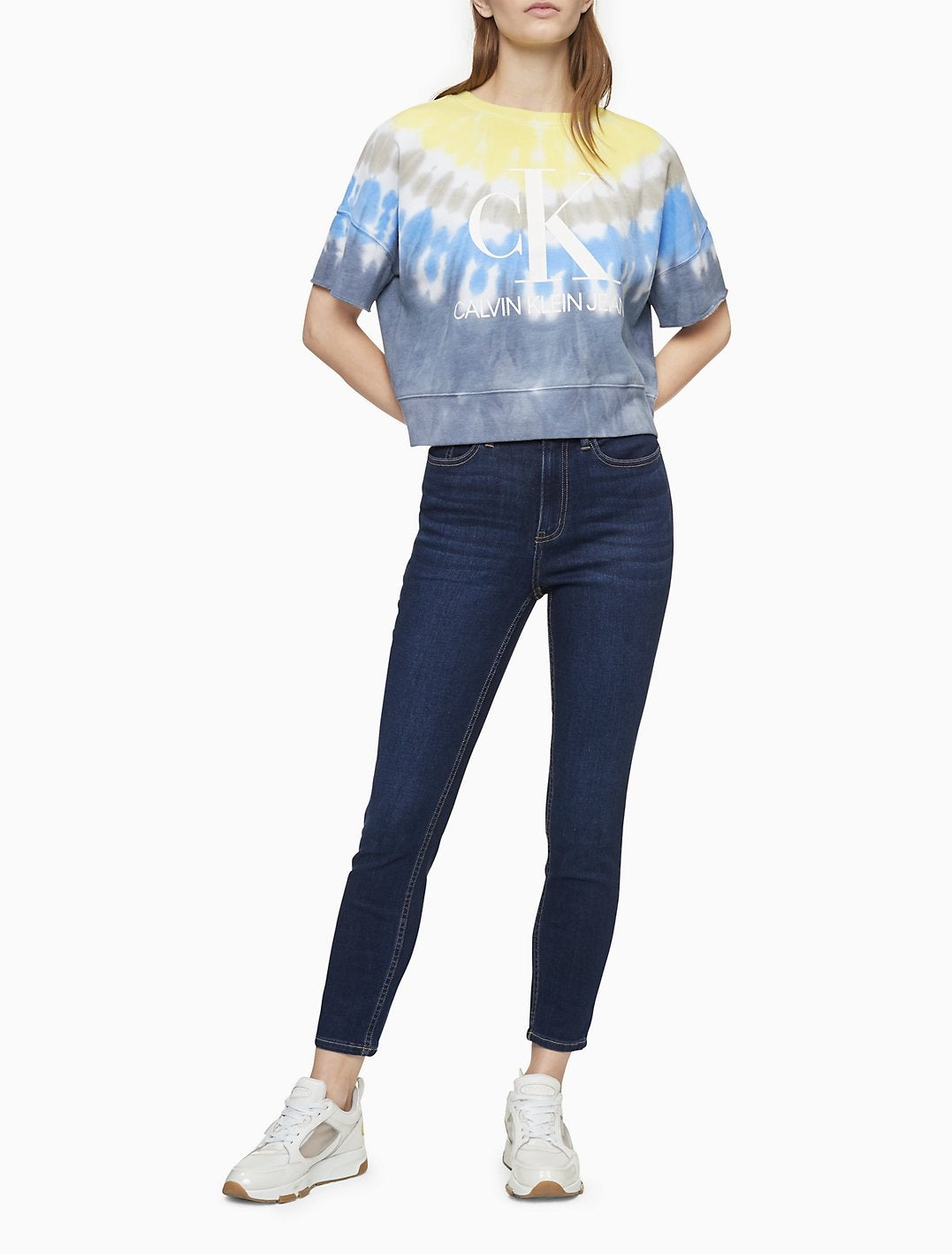 Calvin Klein Skinny Fit High Rise Pacific Blue Ankle Jeans