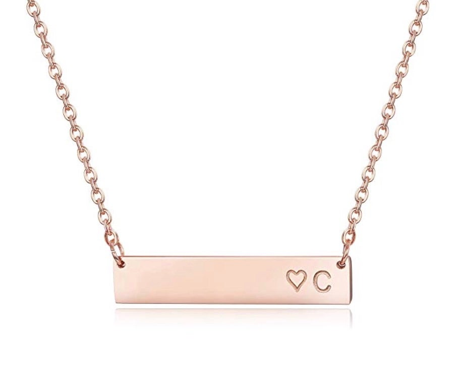 Finrezio Rose Gold Plated Stainless Steel Initial Heart Bar Necklace