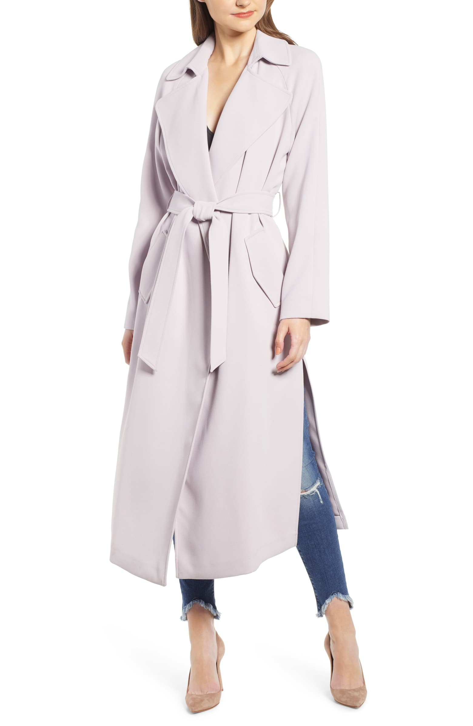 Kendall + Kylie Side Slit Crepe Trench Coat