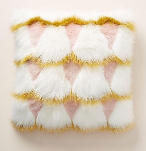 Anthropologie Coren Faux Fur Pillow