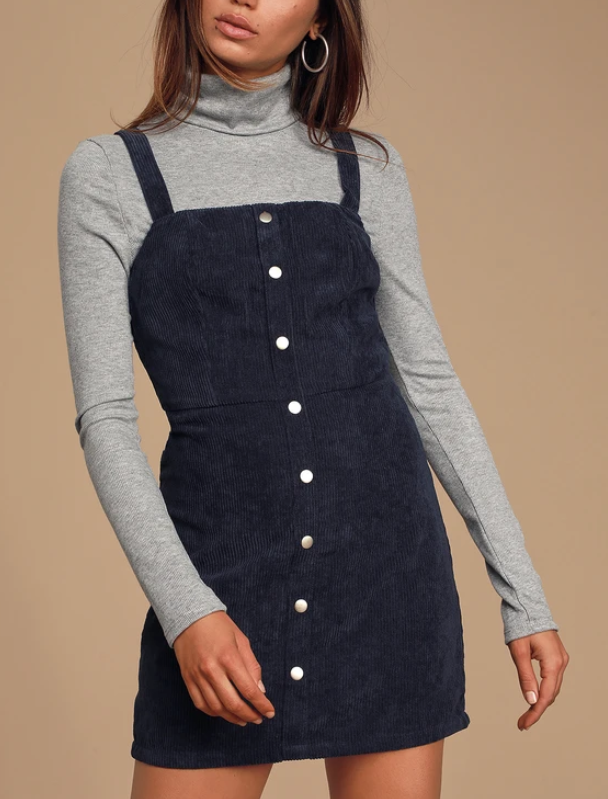 Lulus Sweet Contentment Navy Blue Corduroy Button Front Mini Dress