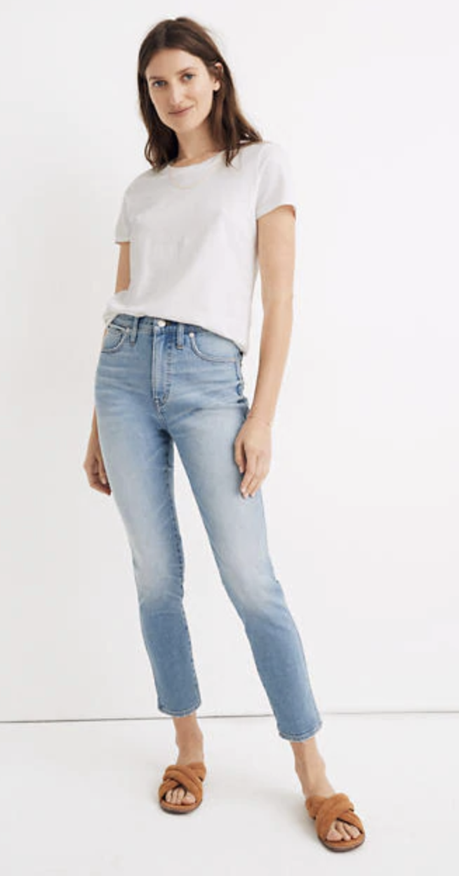 "Madewell 10"" High-Rise Skinny Crop Jeans in Horne Wash"