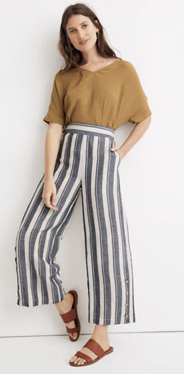 Madewell Side-Button Huston Pull-On Crop Pants in Indigo Stripe