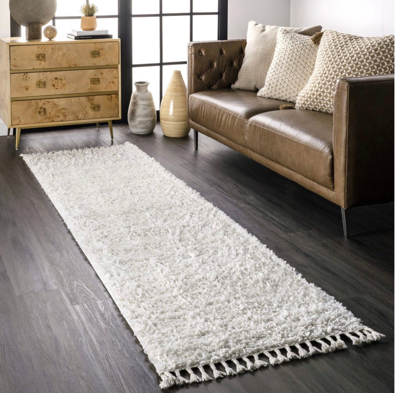 Ivory Solid Shag With Tassels Area Rug