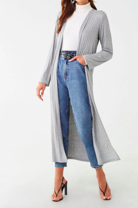 Forever 21 Shadow-Striped Longline Cardigan