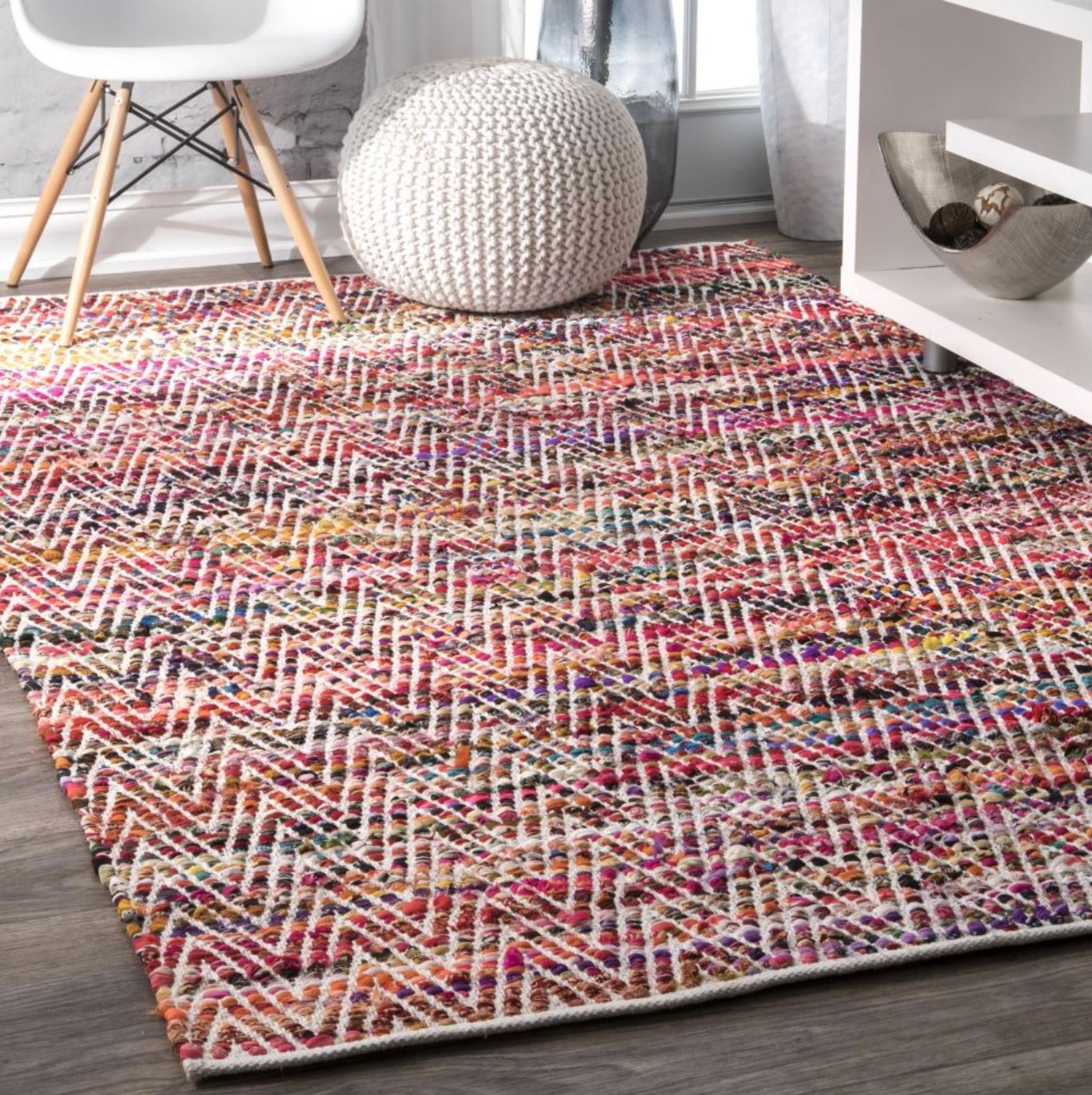 Magenta Hand Woven Candy Striped Chevron Area Rug