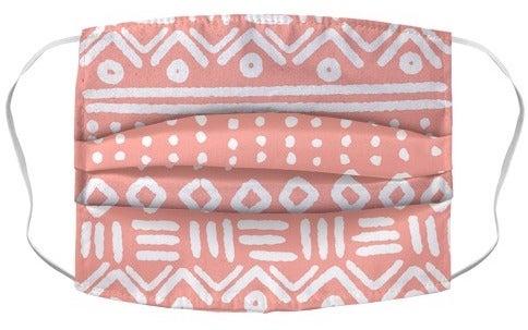 Abstract Geometric Coral Pink Boho Pattern Mask