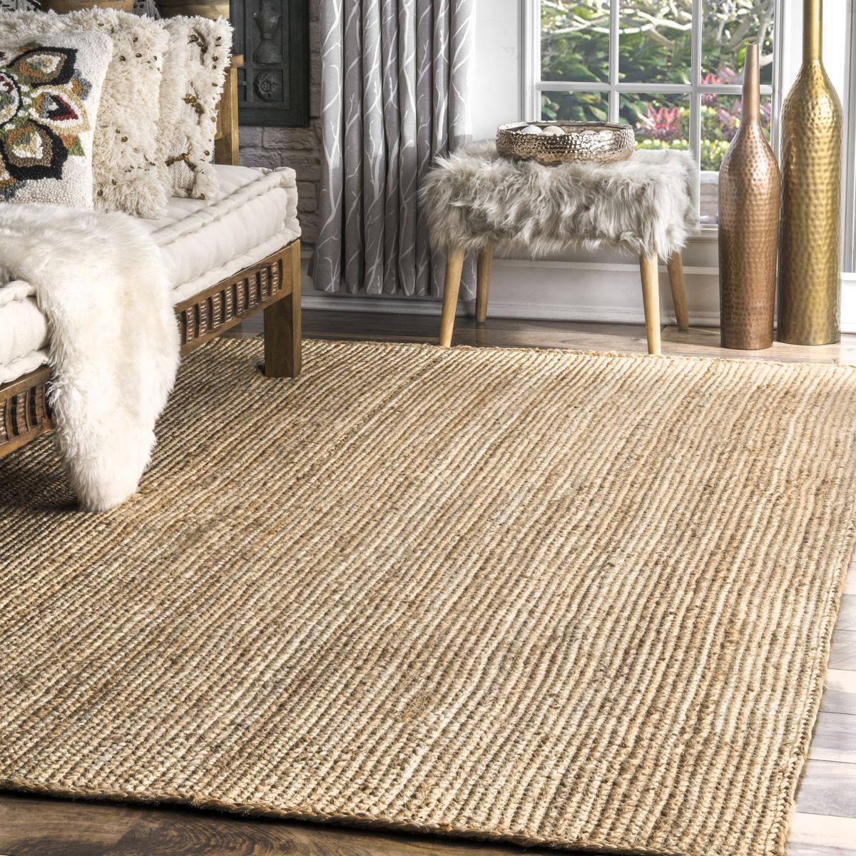 Natural Jute Braided Area Rug