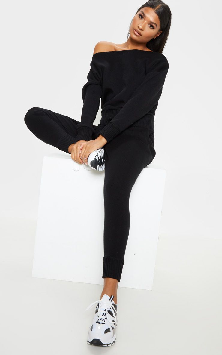 PrettyLittleThing Auriel Black Jogger Jumper Knitted Lounge Set