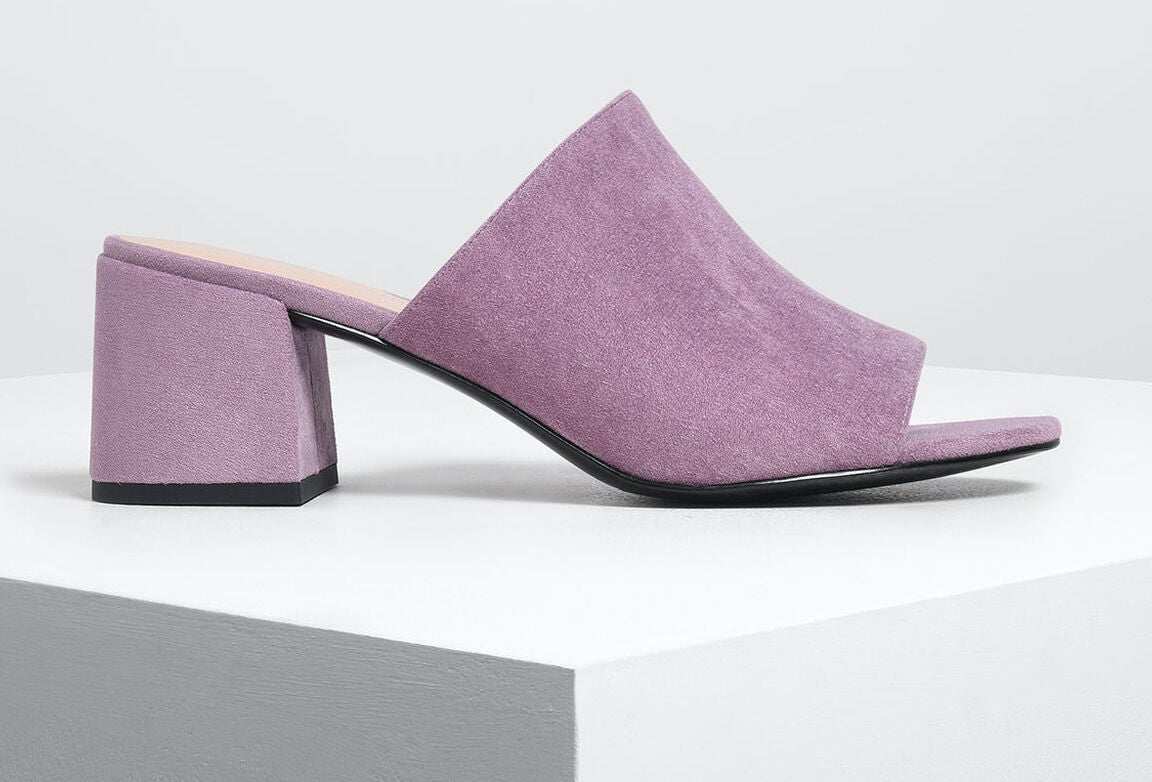Charles & Keith Suede Block Heel Slide Sandals