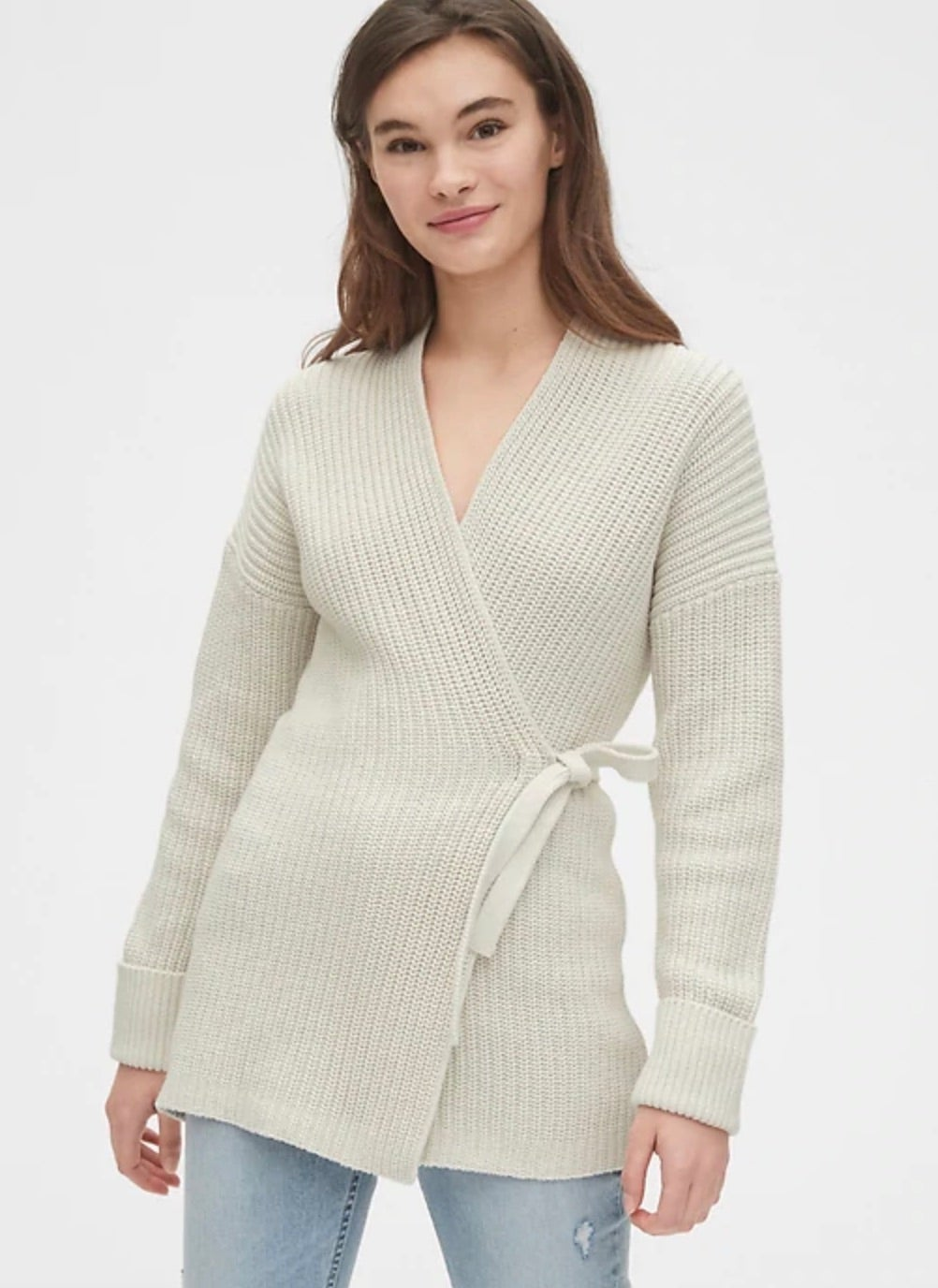 Ribbed Wrap Cardigan Sweater