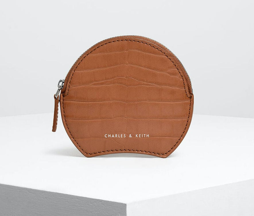 Charles & Keith Semi Circle Croc-Effect Mini Pouch