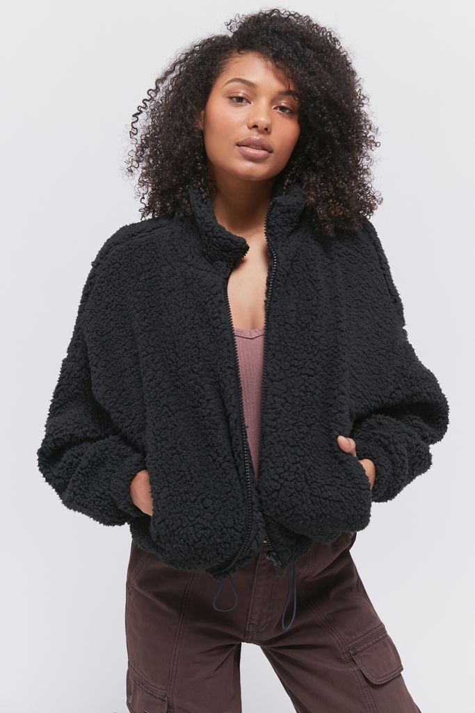 Urban Outfitters UO Willow Fuzzy Drawstring Teddy Jacket