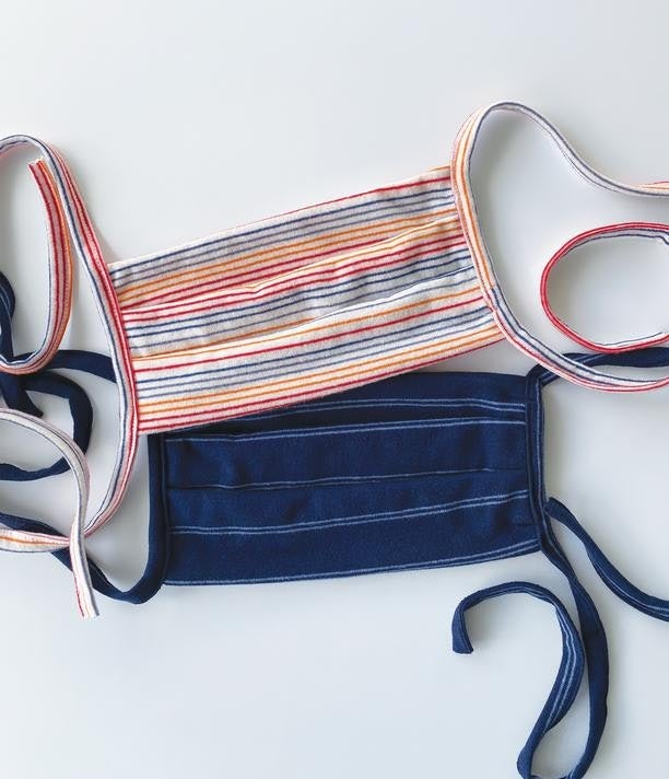 Pleated Striped Face Mask 2-Pack