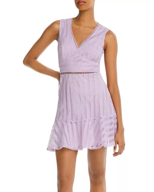 Aqua Lace Ruffled-Hem Dress