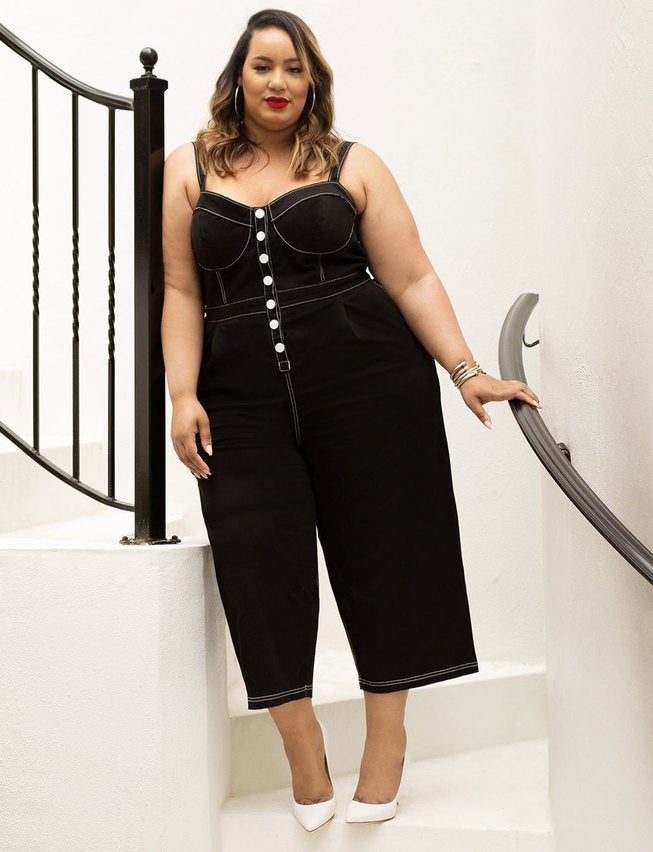 Eloquii Jumpsuit with Contrast Stitching