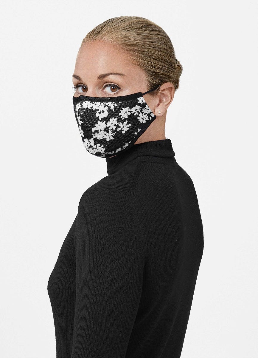Floral Jacquard Fitted Mask