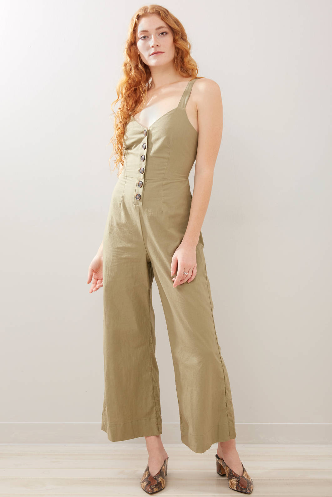 Juniper Blue Button Front Jumpsuit