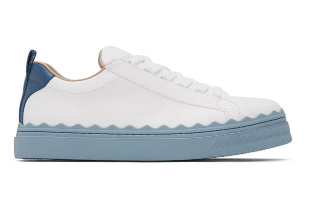 Chloé White and Blue Lauren Sneakers