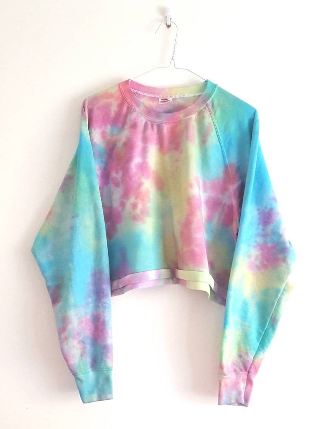 Pastel Tie Dyed Crop Top Sweatshirt